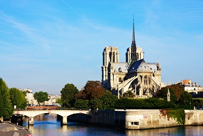 Notre Dame Cathedral. I think this was taken from Pont de Sully, to the southwest.